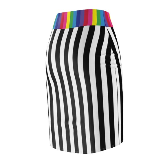 The Black and White Collection: Women's Striped Pencil Skirt