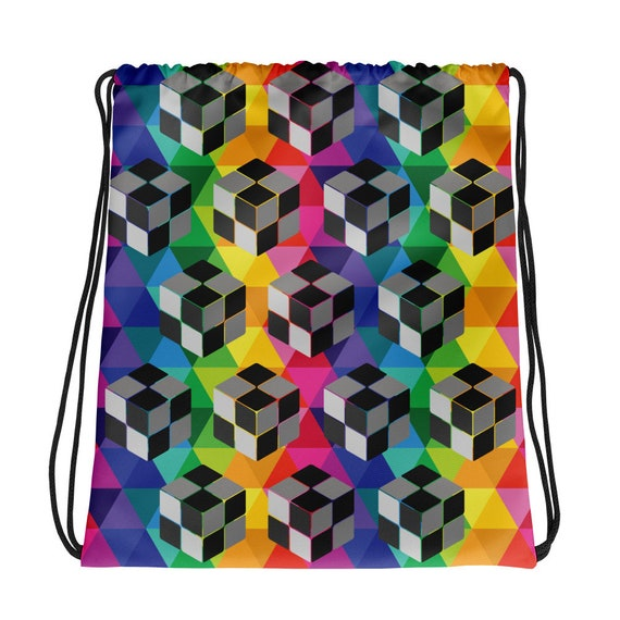 3D Nano Cube Drawstring bag Colorful Rainbow Sack