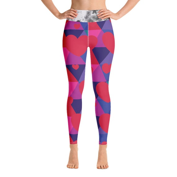 Colorful Heart Rainbow Yoga Leggings Gift for Her