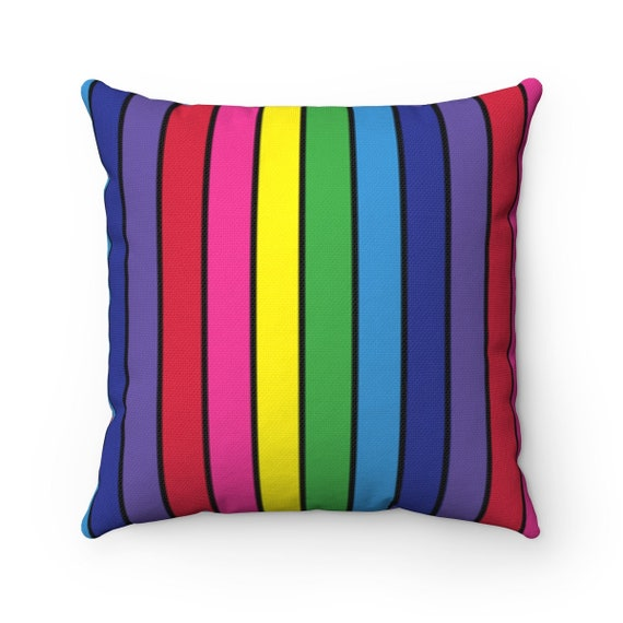 The Vivid Collection: Rainbow Striped Square Pillow