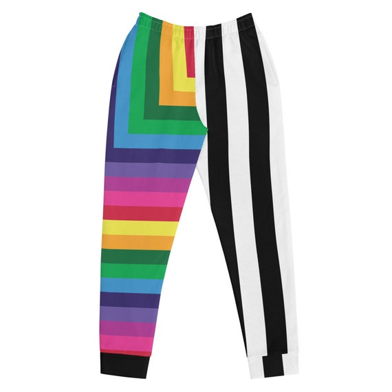 Multicolored Striped Women's Joggers - Colorful Sweatpants - Color Block Pants - Rainbow Lounge Joggers with Black and White Stripes