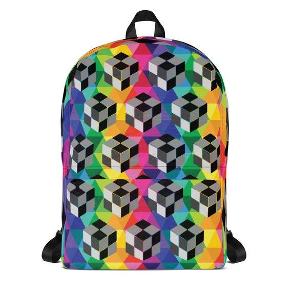 3D Nano Cube Backpack Colorful Rainbow Bag