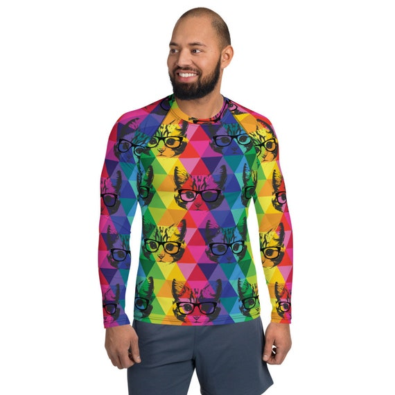 Funny Colorful Cat with Glasses Men's Rash Guard