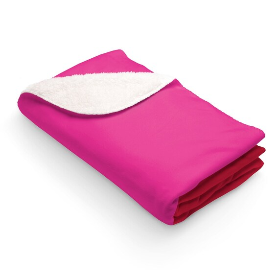 Red + Pink Two Toned Sherpa Fleece Blanket