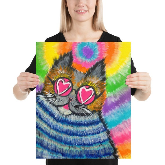 Limited Edition! Alice's Fat Cat Photo Paper Poster - Whimsical Print - Psychedelic Art by Hadie Boul