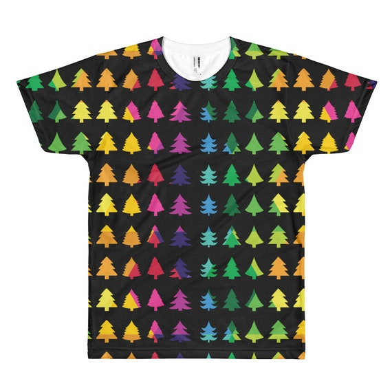 Christmas Tree Tshirt Short sleeve T-shirt Merry Christmas Tee Xmas Fun Gift Happy Holidays Shirt Rainbow Christmas Black Background
