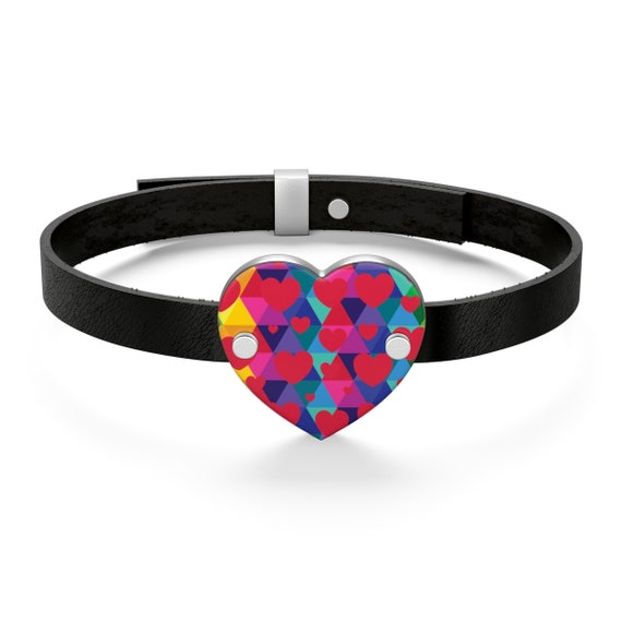 Colorful Heart Leather Bracelet for Your Love on Valentines Day or Gift for Your Daughter