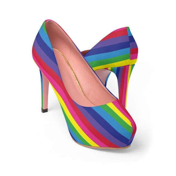The Vivid Collection: Rainbow Striped Women's Platform Heels