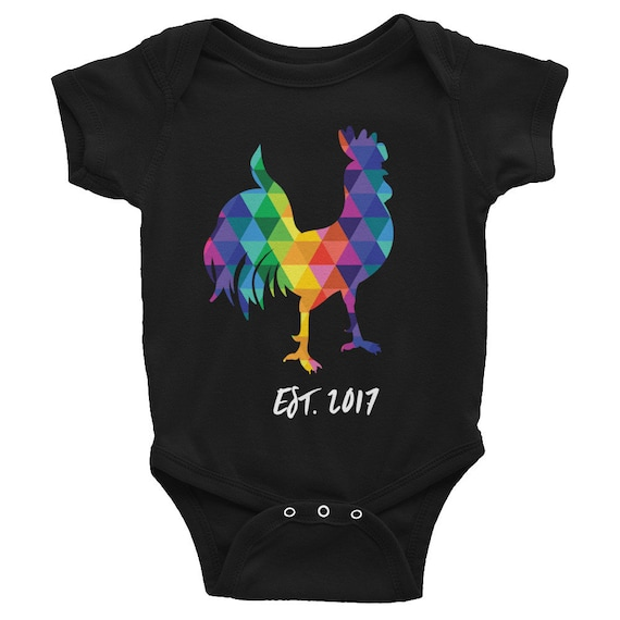 CUSTOM Infant Bodysuit Colorful One-piece Rainbow Rooster Cute Snapsuit Funny Baby Outfit Gifts for Baby Shower Gifts