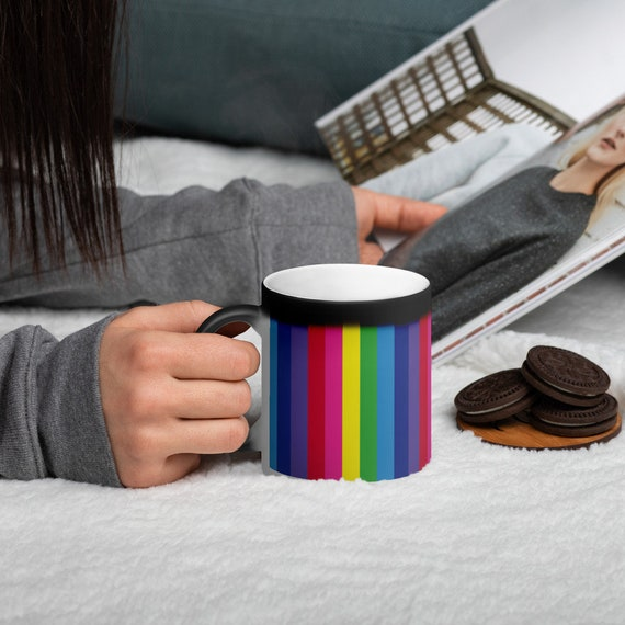 The Vivid Collection: Rainbow Striped Matte Black Magic Mug
