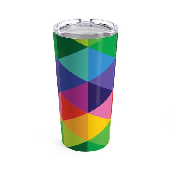 Multi-colored Rainbow Tumbler 20oz - Stainless Steel Rainbow Tumblr - Rainbow Glasses for Wine or Water or Coffee