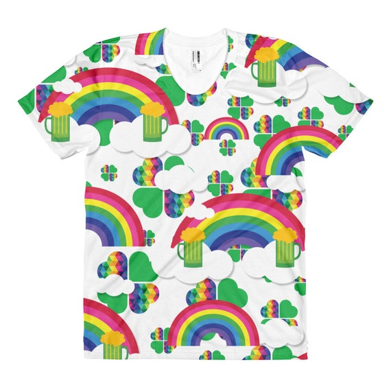 Colorful St. Patrick's Day All Over Women's t-shirt with Rainbows Clouds and Beer Gifts