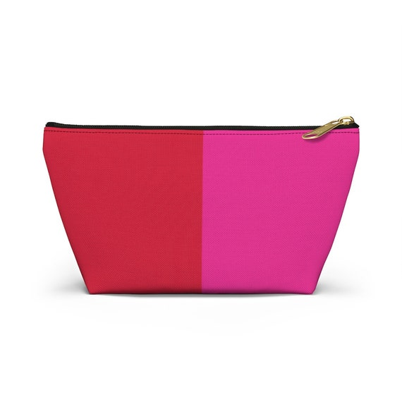 Red + Pink Two Toned Accessory Pouch w T-bottom