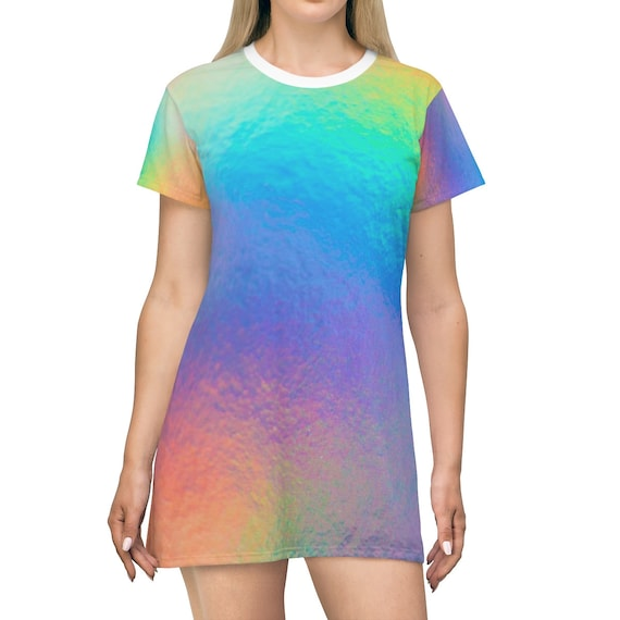 Iridescent Swirl T-shirt Dress - Tie Dye T-shirt - Holographic Dress - Graphic T-shirt Dress