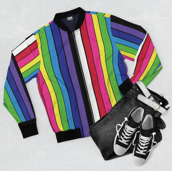 Men's Rainbow Striped Bomber Jacket