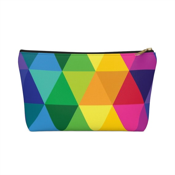 Accessory Pouch w T-bottom Colorful Rainbow Bag Catch All