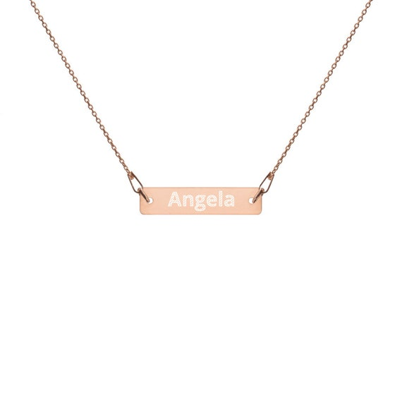 Custom Engraved Silver Bar Chain Necklace for Angela