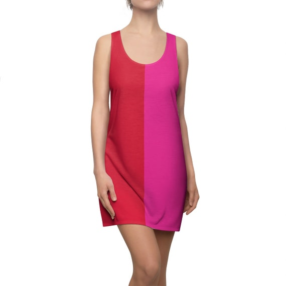 Trendy Women's Racerback Dress Red and Pink Front Blue Purple Back Colorful Tank Outfit