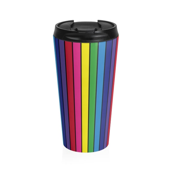The Vivid Collection: Rainbow Striped Stainless Steel Travel Mug