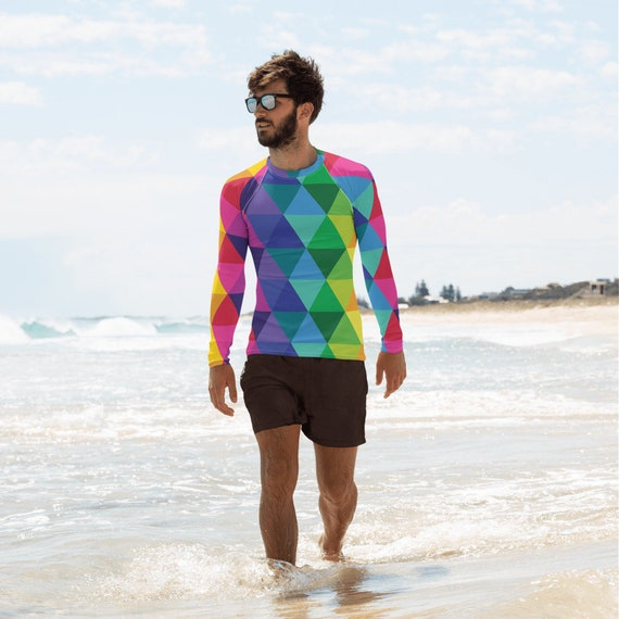 Men's Rash Guard - Multi Colored Shirt - Colorful Long Sleeve Top