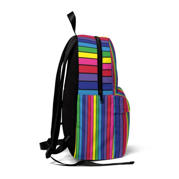 The Vivid Collection: Rainbow Striped Unisex Classic Backpack