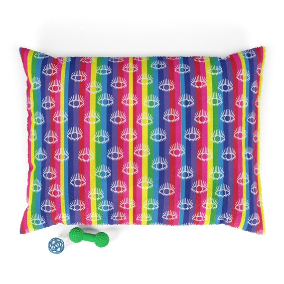 Eye See You Pet Bed Rainbow Striped Pillow for Animals