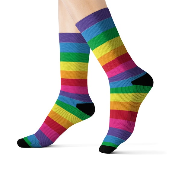 The Super Sour Candy Cane Socks - Rainbow Socks