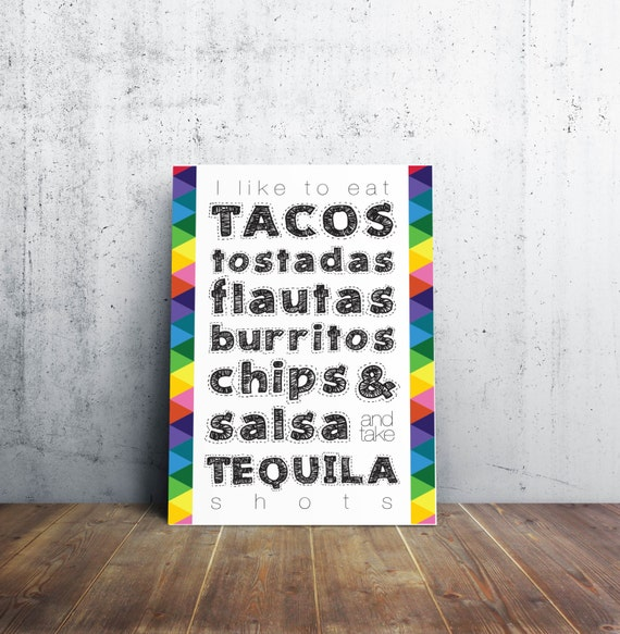 Tacos and Tequila Art Print - Colorful Poster - Sign - 3 Different Sizes