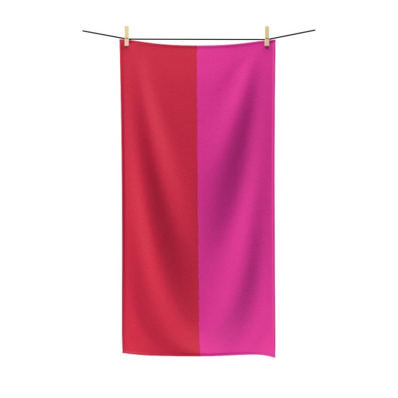 Red + Pink Two Toned Polycotton Towel