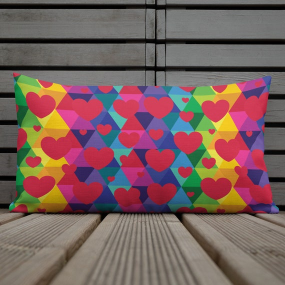 Colorful Hearts Premium Pillow for Valentines Lovers Decor