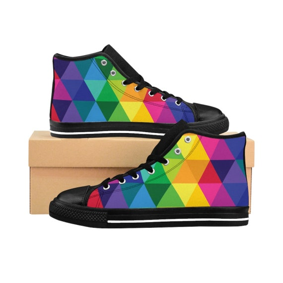 WomenS HighTop Sneakers Colorful Rainbow Shoes Custom Canvas Design for Her Your Magical Ruby Slippers