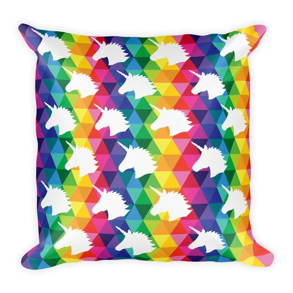Unicorn Square Pillow Colorful Rainbow Pillow
