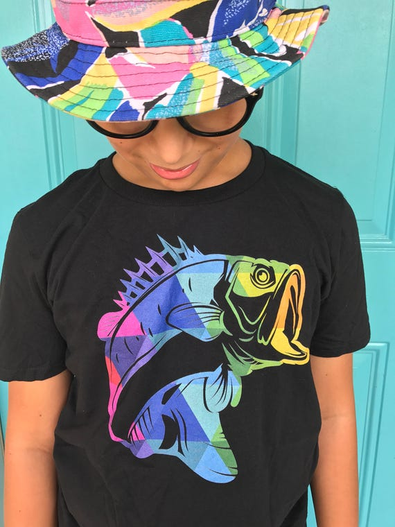 Fishing shirt Bass Shirt Fish Silhouette tshirt for Bass Fisherman Fishing Gifts for Him Fishing Gifts Kids Tshirt with a Fish