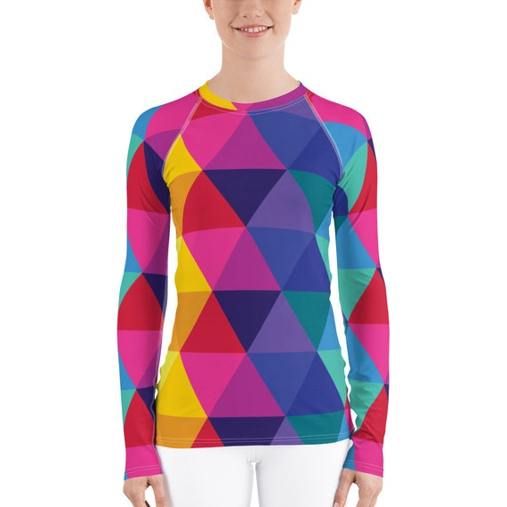 Women's Rash Guard - Rainbow Geometric Pattern Shirt - Multicolored Top