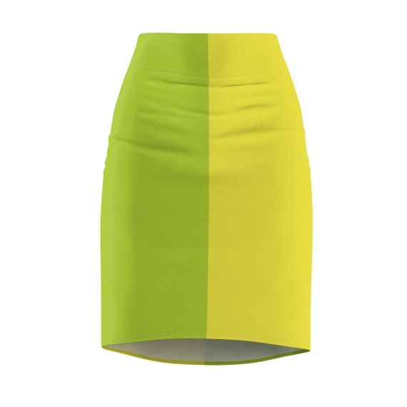 Neon Green and Yellow Two Toned Women's Pencil Skirt