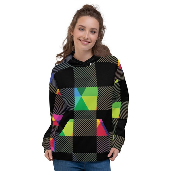 Rainbow Plaid Unisex Hoodie - Rainbow Sweatshirt - Multi Colored Hooded Pullover