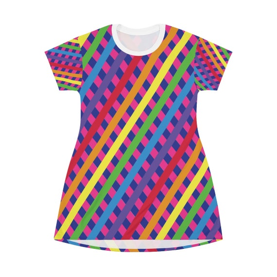 The Candylicious T-shirt Dress - Rainbow Striped Tshirt Dress - Comfy with a Perfect Fit - Fitted and Flowy