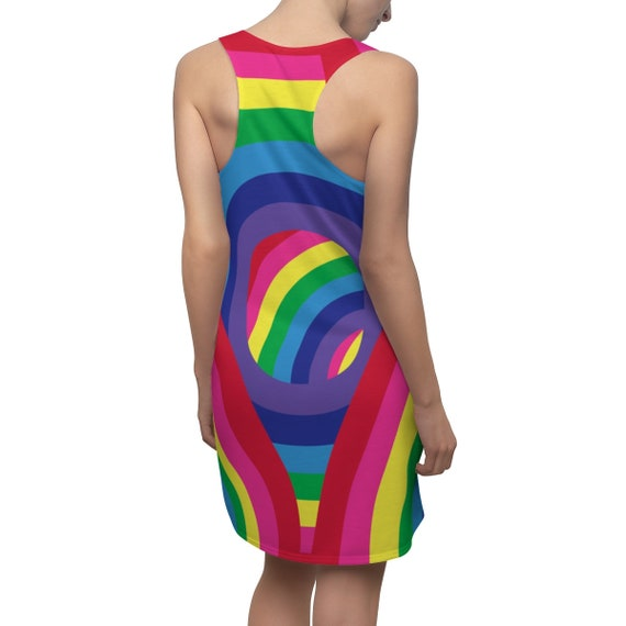 Rainbow Women's Racerback Dress Colorful Outfit Multicolored Tank Dress