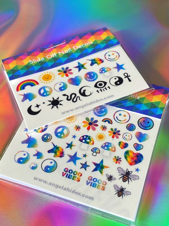 Rainbow Slide On Nail Decals with Smiley Faces, Sun, Moon, Mushrooms, Flowers, Texas, Cat, Unicorn and More...
