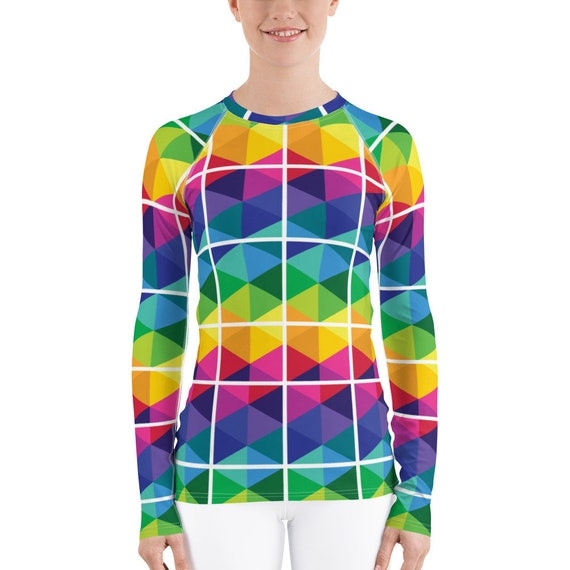 Colorful Window Pane Pattern Women's Rash Guard