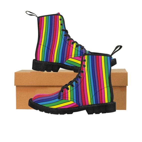 The Vivid Collection: Rainbow Striped Women's Martin Boots with Black Lines