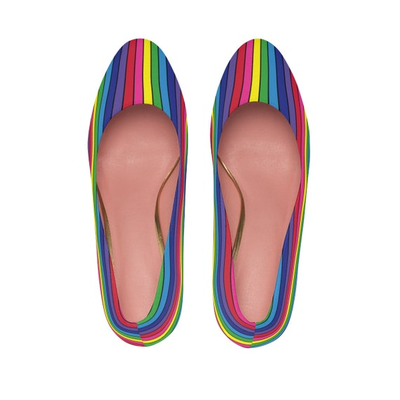 The Vivid Collection: Rainbow Striped Women's High Heels Sexy Pumps