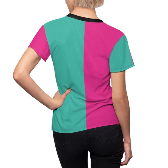 Turquoise and Pink Two Toned Women's Tee - Color Block Shirt