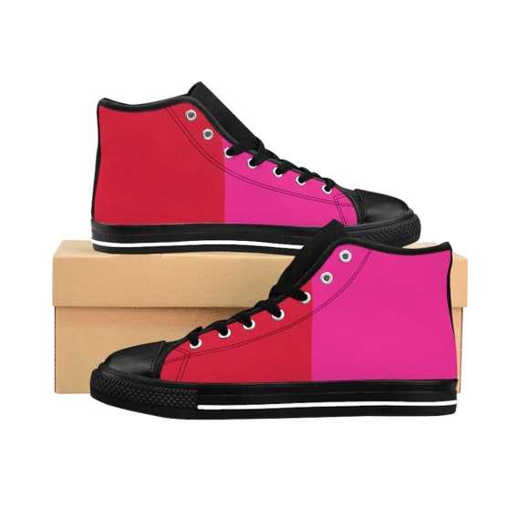 Red + Pink Two Toned Women's High-top Sneakers