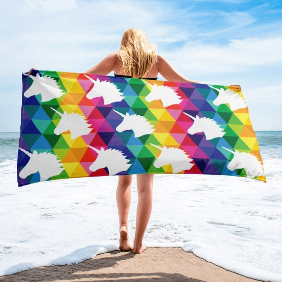 Unicorn Beach Towel for Anyone Rainbow Towel Gift