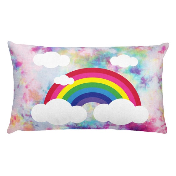 Rainbow with Clouds Premium Pillow
