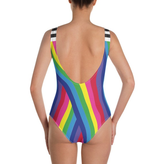 The Vivid Collection: Rainbow Striped One-Piece Swimsuit