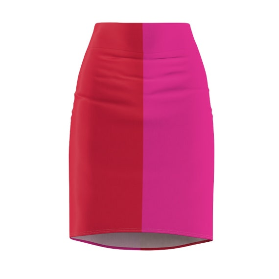 Red + Pink Two Toned Women's Pencil Skirt - Color Block Skirt