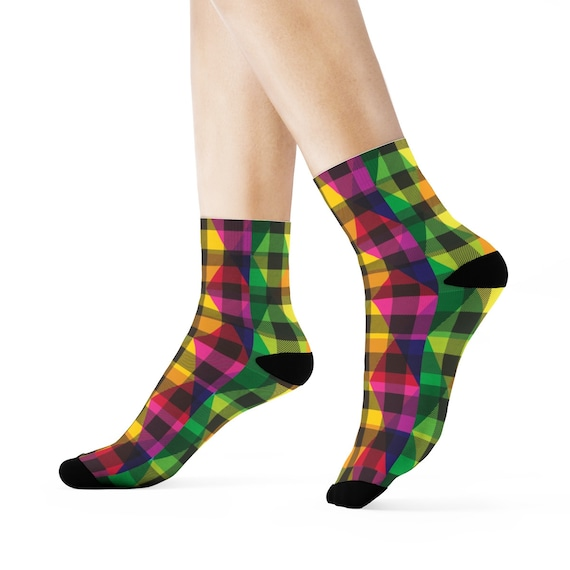 Christmas Crew Socks - Colorful Plaid