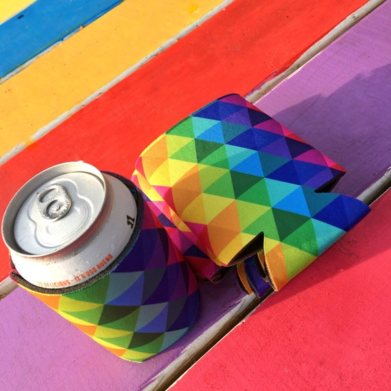 Rainbow Can Cooler - Beverage Insulator - Can Cozy - Rainbow Gift - Drink Holder